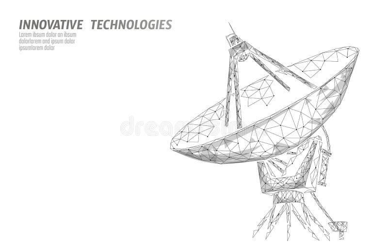 Conceito abstrato da tecnologia da defesa poligonal do espaço da antena de radar Fazer a varredura detecta o wireframe militar da ilustração royalty free