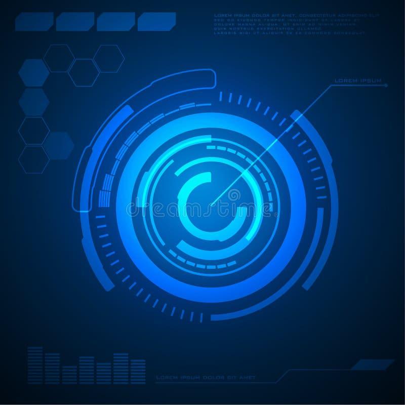 Conceito abstrato de uma comunicação da Olá!-tecnologia do fundo da tecnologia do círculo, fundo digital futurista ilustração stock