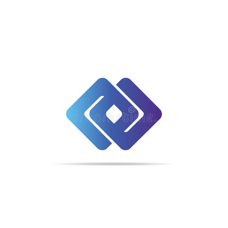 conceito abstrato do elemento do logotipo do cubo da corrente da infinidade com cor do inclinação ilustração mínima do vetor do s ilustração stock