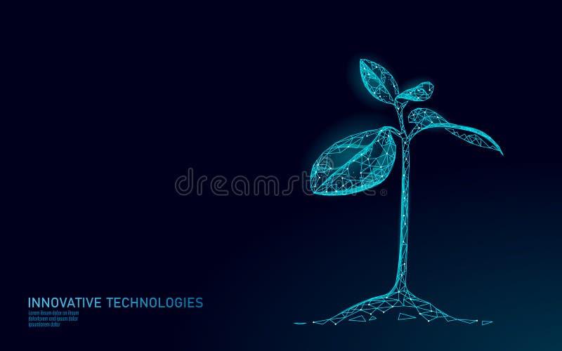 Conceito abstrato ecológico do broto da planta 3D rendem as folhas da árvore da plântula O ambiente de salvaguarda da natureza do ilustração royalty free