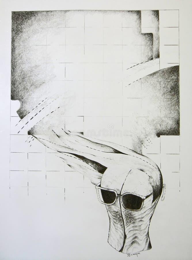 Conceito abstrato - forma principal de madeira com vidros ilustração stock