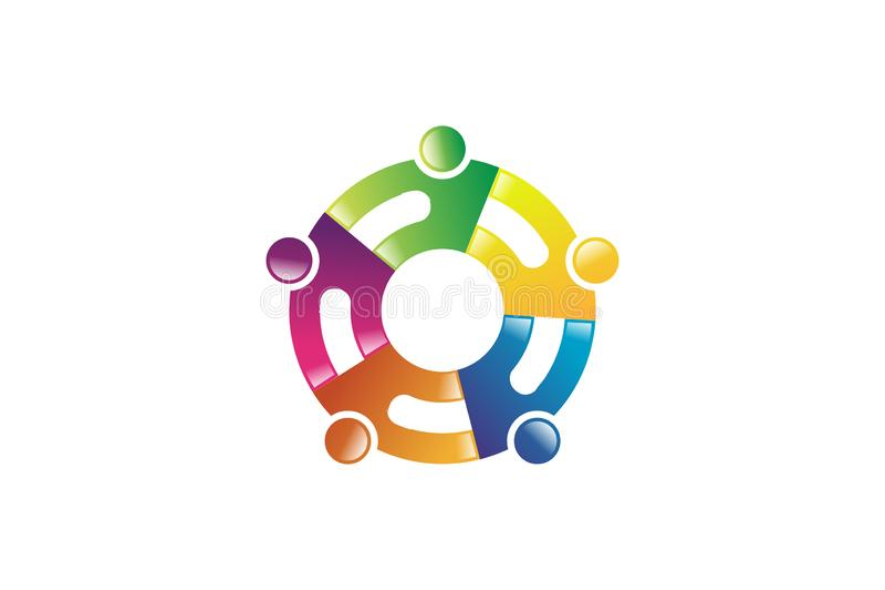 Conceito abstrato para o logotipo colorido dos povos da comunidade ilustração stock