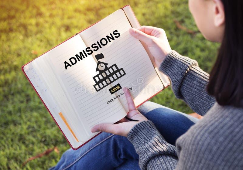 Conceito acadêmico da universidade do conhecimento da educação das admissões imagens de stock