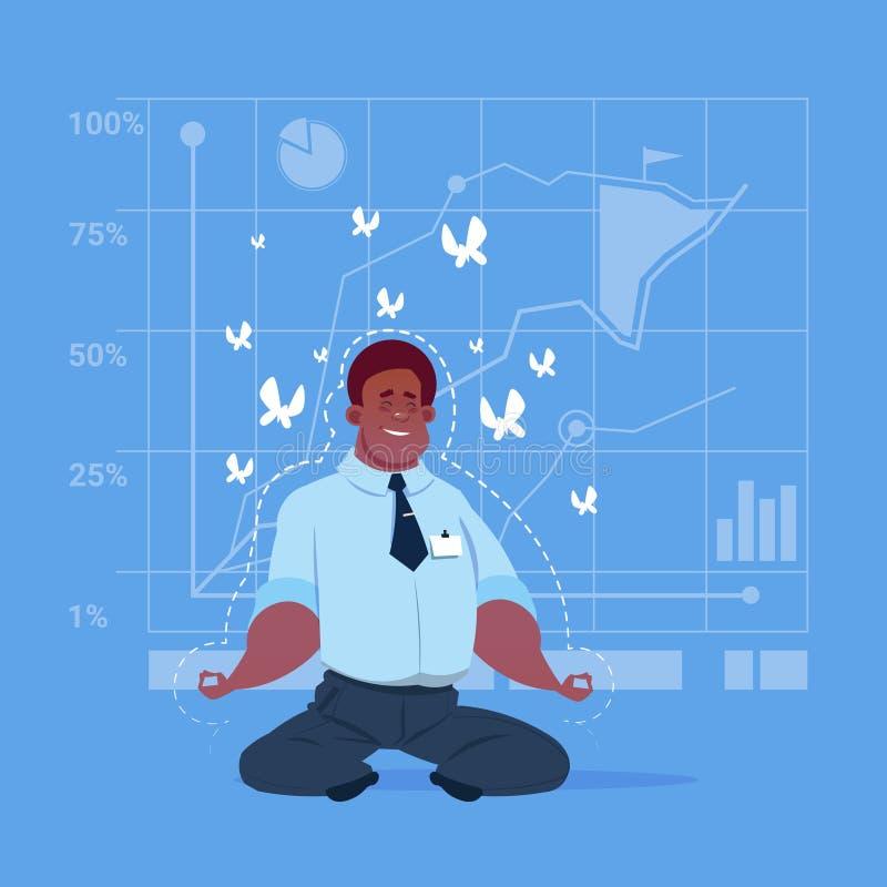 Conceito afro-americano da meditação de Sit Yoga Lotus Pose Relaxing do homem de negócio ilustração stock