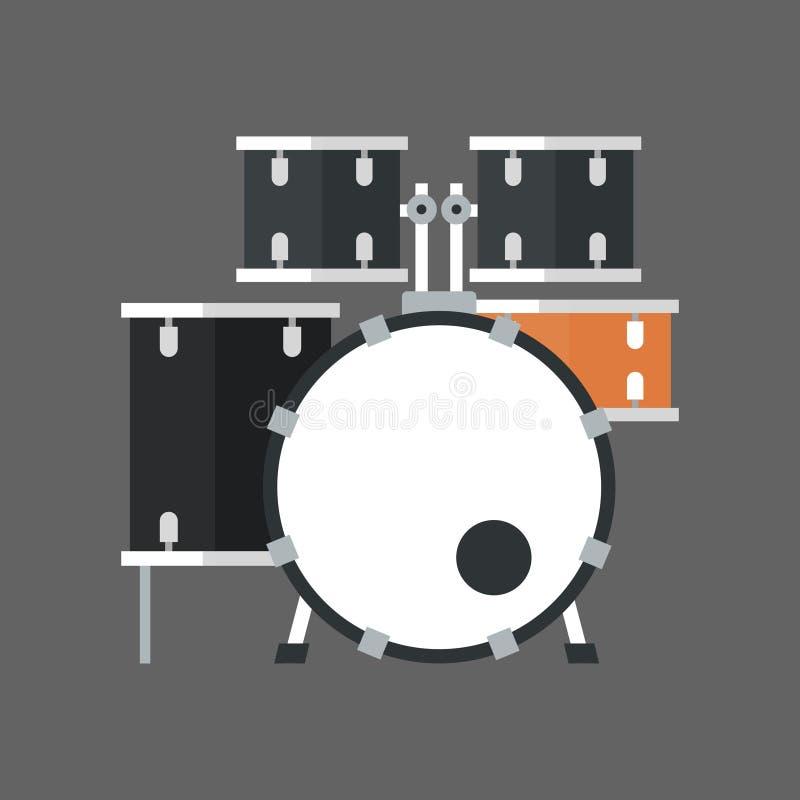 Conceito ajustado do instrumento de música do ícone do cilindro ilustração royalty free