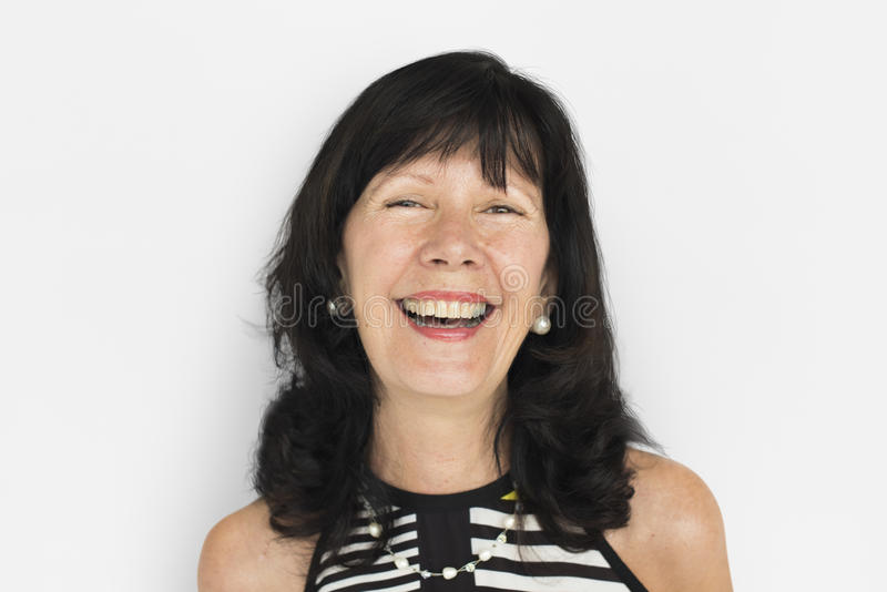 Conceito alegre da mulher asiática madura imagem de stock royalty free