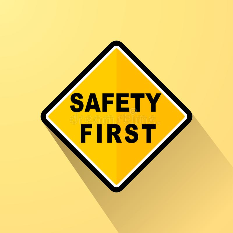 Conceito amarelo do sinal da segurança em primeiro lugar ilustração do vetor