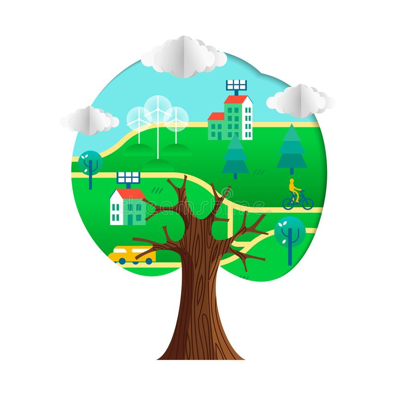 Conceito amigável da árvore de Eco com cidade sustentável ilustração stock