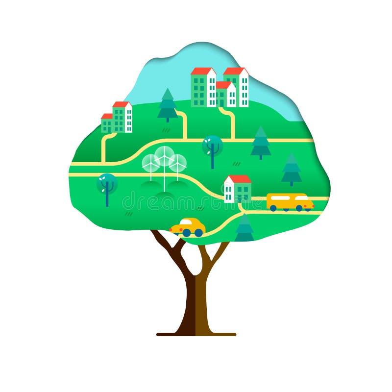 Conceito amigável da árvore de Eco com cidade sustentável ilustração royalty free