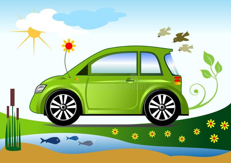 Conceito amigável ecológico do carro ilustração do vetor