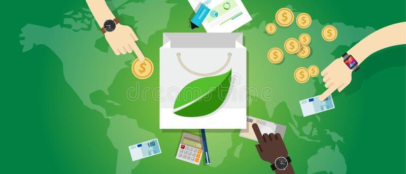 Conceito amigável verde livre do ambiente do eco da compra do consumo da culpa da compra do saco ilustração royalty free