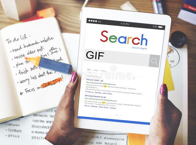 Conceito animado do formato do intercâmbio dos gráficos das imagens do GIF imagens de stock