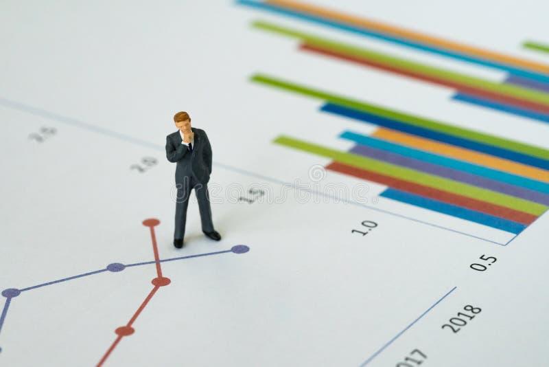 Conceito anual da avaliação dos resultados do negócio, figo diminuto dos povos imagem de stock