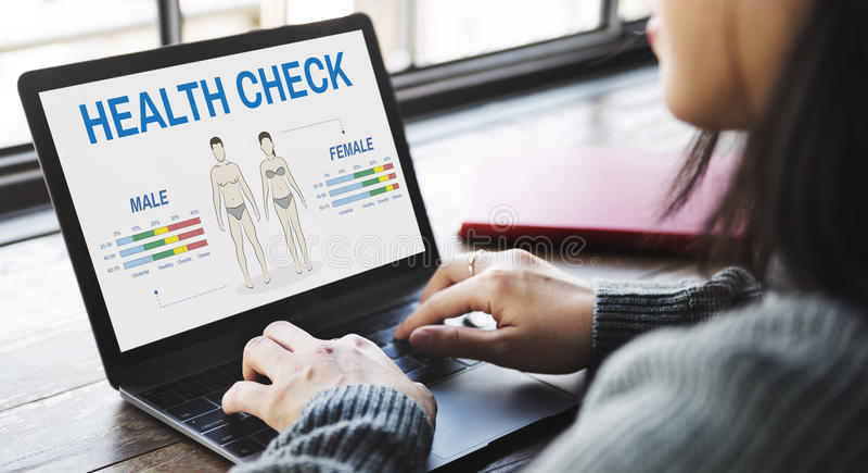 Conceito anual da biologia do corpo do controle do exame médico completo imagens de stock royalty free