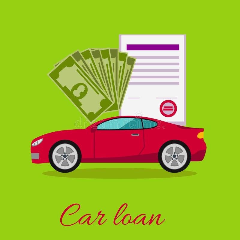 Conceito aprovado do empréstimo automóvel ilustração stock