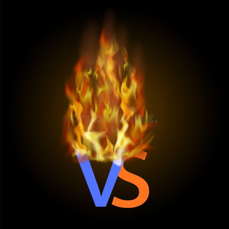 Conceito ardente da confrontação, junto, luta final Contra CONTRA o fundo da luta das letras com luzes do fogo ilustração do vetor