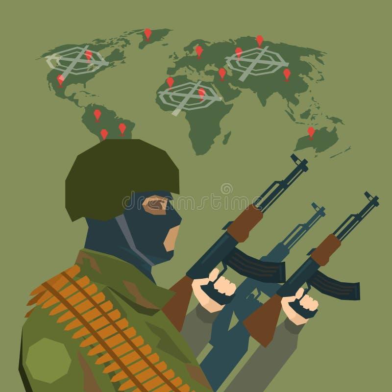 Conceito armado do terrorismo de Over World Map do terrorista ilustração stock