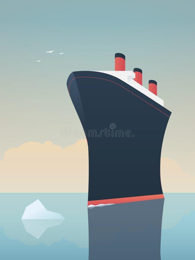 Conceito arriscado do negócio da exploração da aventura Navio sem medo e iceberg do explorador no mar ilustração stock