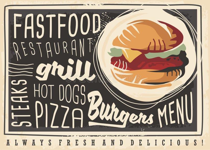 Conceito artístico do menu do restaurante do fast food ilustração stock