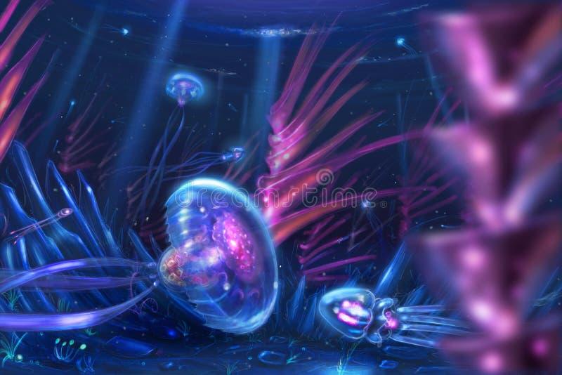 Conceito Art Dreamlike Fantasy Painting das medusa como a natação das criaturas no oceano ilustração stock