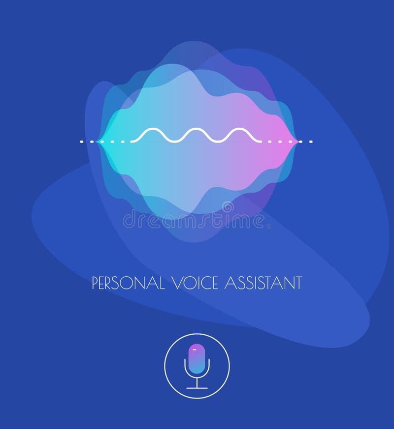 Conceito assistente da voz pessoal móvel do App UI ilustração do vetor
