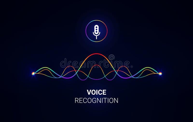 Conceito assistente pessoal do reconhecimento de voz Tecnologias de inteligência artificial Conceito do logotipo da onda sadia Fu ilustração stock