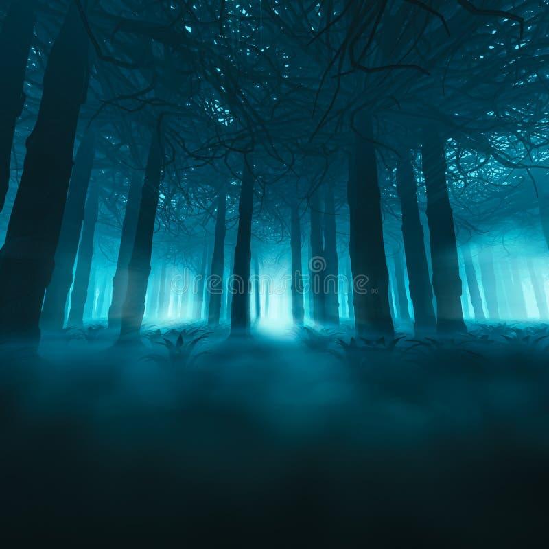 Conceito assustador da floresta ilustração stock