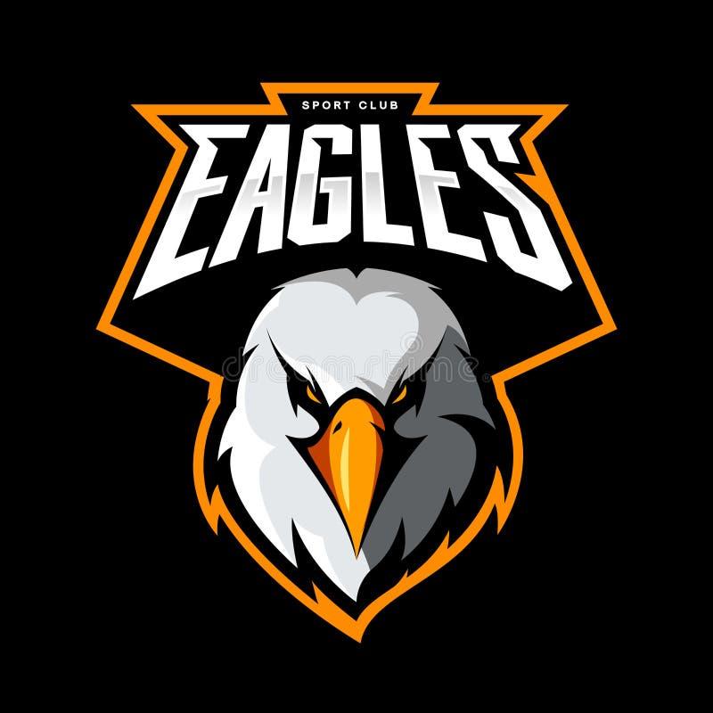 Conceito atlético do logotipo do vetor do clube da cabeça furioso da águia isolado no fundo preto ilustração stock