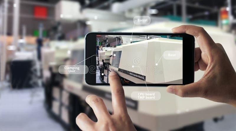 Conceito aumentado da realidade AR 4 industriais foto de stock