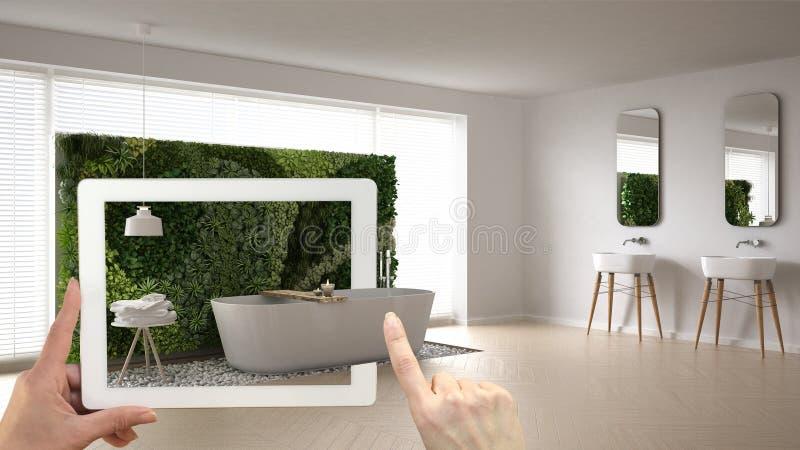 Conceito aumentado da realidade Entregue guardar a tabuleta com a aplicação da AR usada para simular produtos da mobília e do des ilustração stock