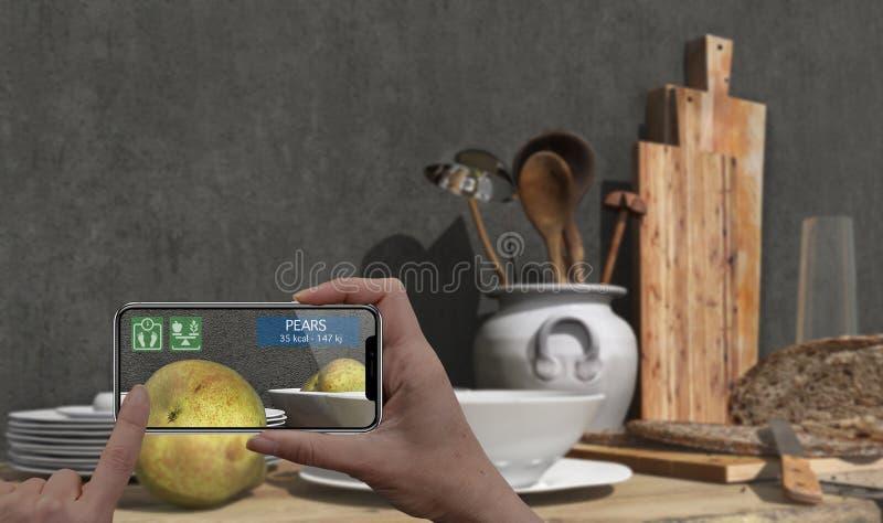 Conceito aumentado da realidade Mão que guarda a aplicação esperta da AR do uso do telefone da tabuleta digital para verificar a  ilustração royalty free