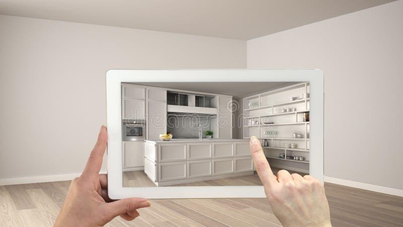 Conceito aumentado da realidade A tabuleta da terra arrendada da mão com aplicação da AR usou-se para simular produtos da mobília foto de stock royalty free