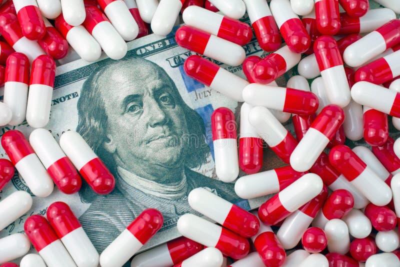 Conceito aumentado dos preços da droga genérica foto de stock