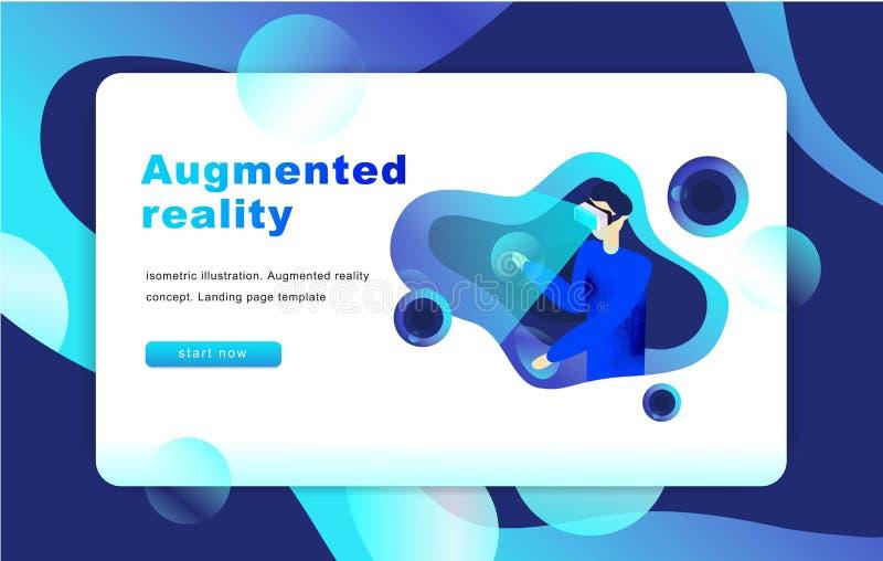 Conceito aumentado isométrico da realidade virtual Molde do Web site Homem ilustração stock