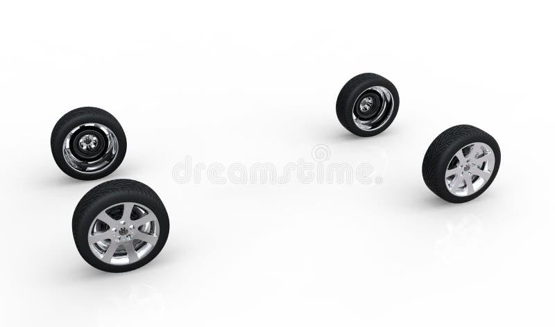 Conceito automotivo das rodas da AR ilustração do vetor