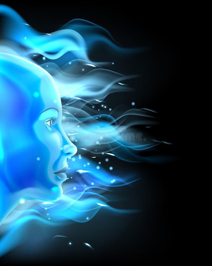 Conceito azul da cara do fogo ilustração stock