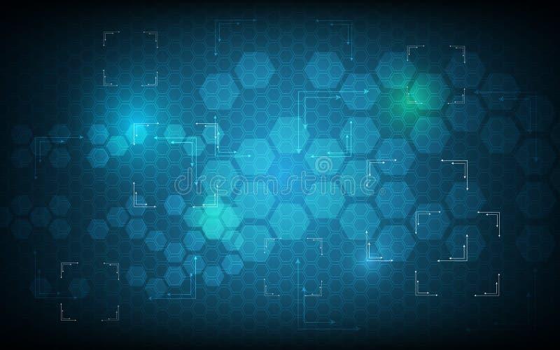 Conceito azul da inovação da tecnologia de design do fi do sci do teste padrão do hexágono do fundo abstrato ilustração do vetor