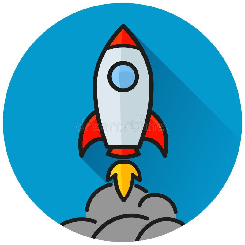 Conceito azul do ícone do círculo de Rocket ilustração do vetor