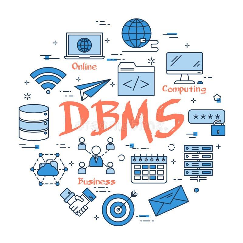 Conceito azul do DBMS do círculo ilustração stock