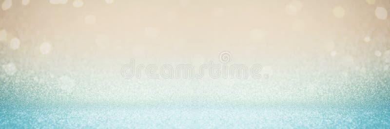 Conceito azul do fundo de tela panorâmico do projeto de cartão da celebração do evento do Natal do brilho do ouro do borrão do su imagem de stock royalty free