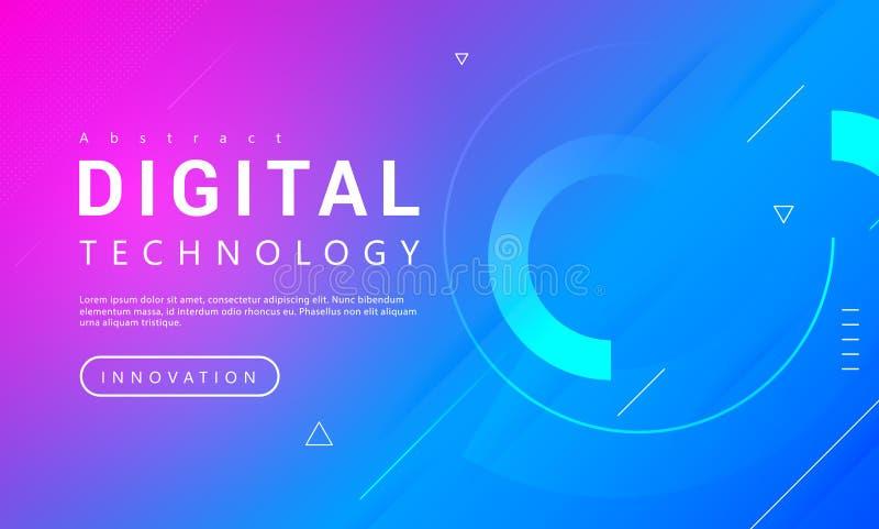 Conceito azul do fundo do rosa da bandeira da tecnologia de Digitas com linha efeitos da tecnologia da luz, tecnologia abstrata ilustração do vetor