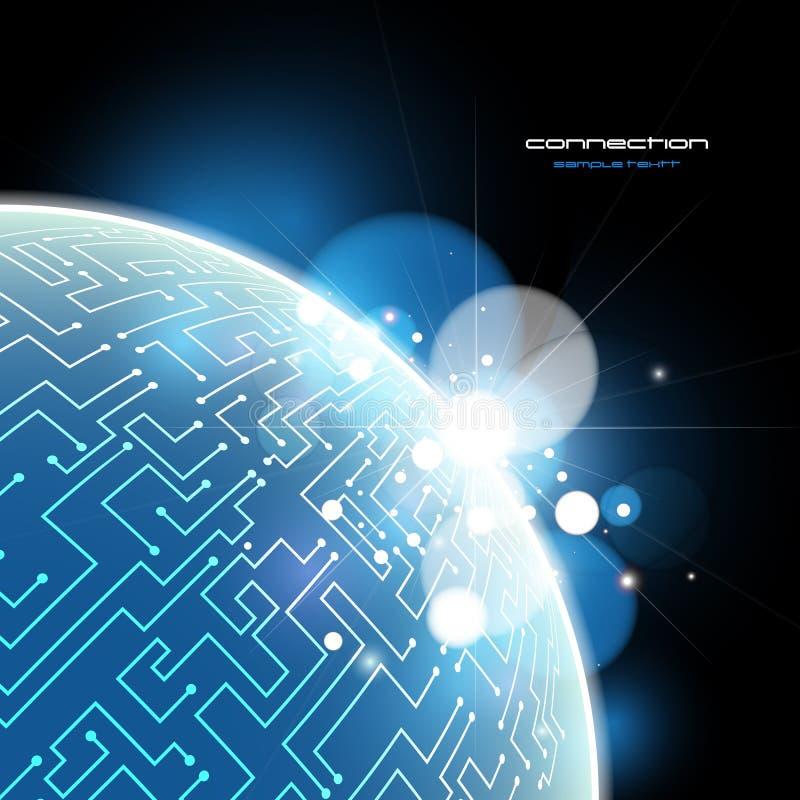 Conceito azul do vetor da conexão de terra ilustração stock