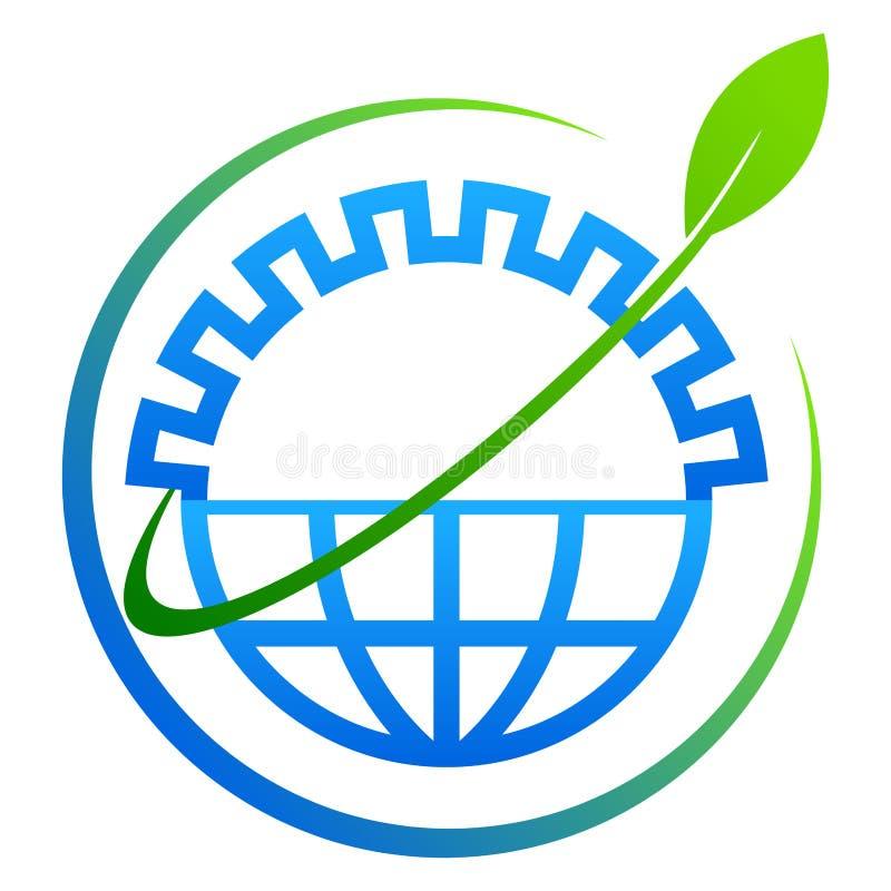 Conceito azul e verde da árvore da engrenagem do globo do eco ilustração royalty free