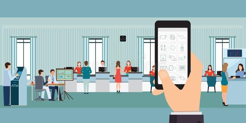 Conceito bancário móvel da aplicação em uma tela do telefone celular ilustração do vetor