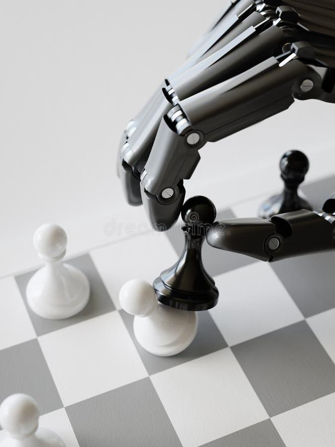 Conceito batendo da inteligência artificial da ilustração do penhor 3d da xadrez do robô ilustração royalty free