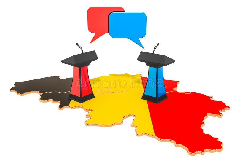 Conceito belga do debate, rendição 3D ilustração stock