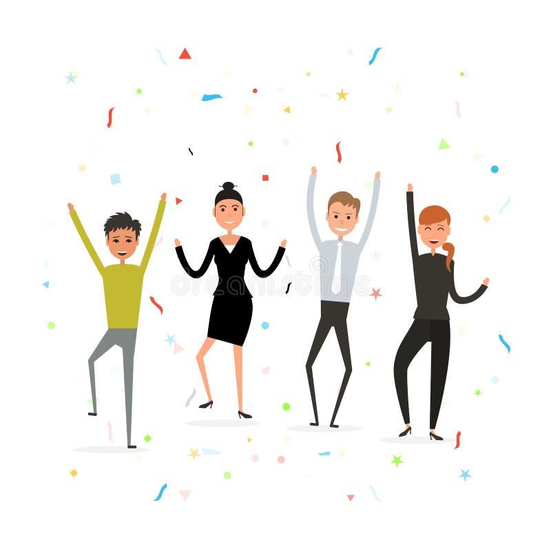 Conceito bem sucedido dos trabalhos de equipa do negócio Executivos novos felizes ilustração stock