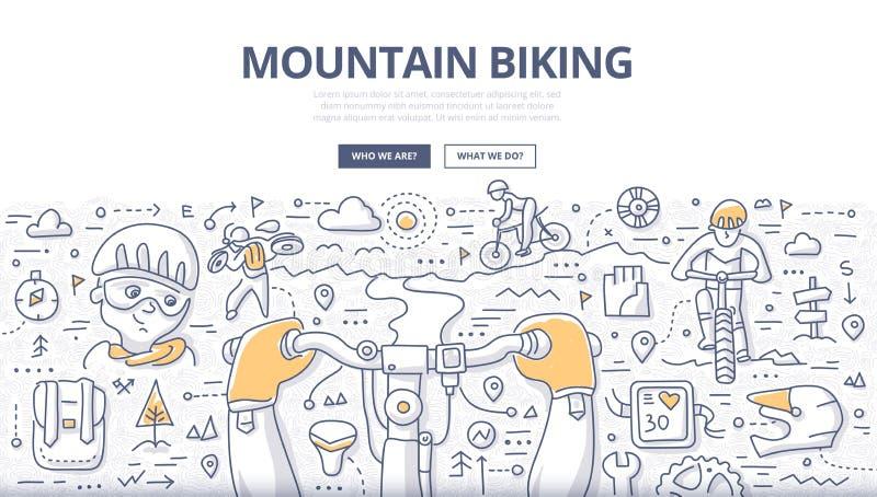 Conceito Biking da garatuja da montanha ilustração royalty free