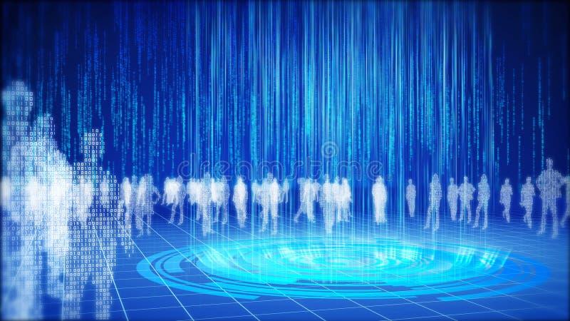 Conceito binário do mundo da informação. ilustração royalty free