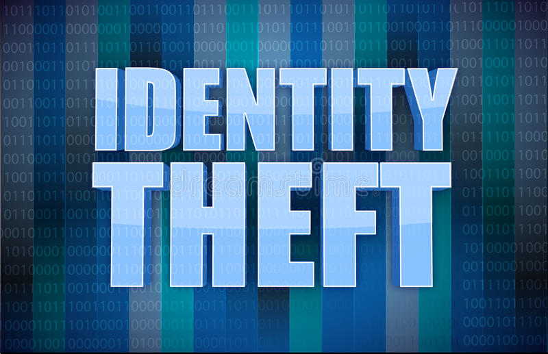 Conceito binário do roubo de identidade na palavra ilustração stock